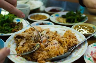 Dinner at a roadside Indian joint, Mandalay, Myanmar